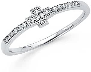 14K Solid White Gold Small Religious Cubic Zirconia Cross Fancy Ring