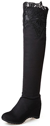 Easemax Women's Comfy Faux Suede Pull On Round Tow High Wedge Heels Inside Over Knee High Boots Black XVRqZvqp