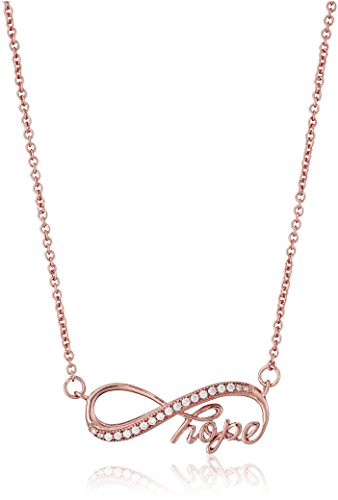 - Rose Gold Plated 925 Sterling Silver AAA Cubic Zirconia Infinity Hope Pendant Necklace, 18