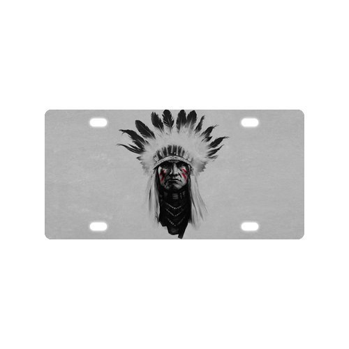 Fashion Design Native American Indian Chief Mental Car License Plate With 4 Holes - 12