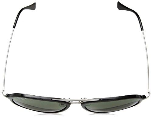 Ray-Ban Plastic Unisex Polarized Aviator Sunglasses, Black, 57 mm