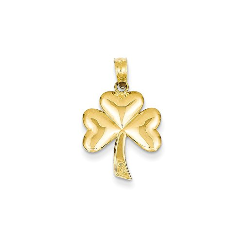14k Yellow Gold Polished Solid 3-Dimensional Shamrock Pendant - Measures 22.1x14.8mm