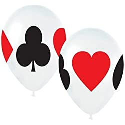 """Casino Card Night 11"""" Latex Balloons - Package of 12"""