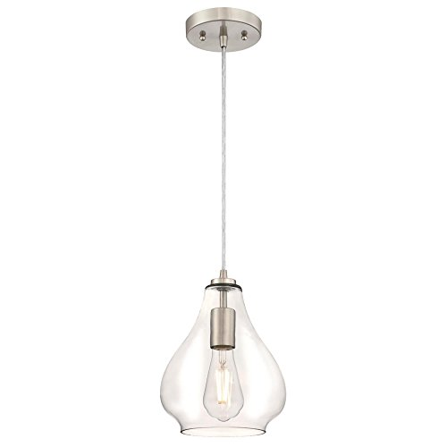 Westinghouse Lighting 6106400 One-Light Indoor Mini Pendant, Brushed Nickel Finish with Clear Glass,