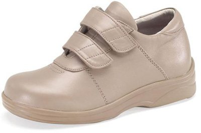 Ariya Casual Walker - Aetrex Women's Y840 Ariya Casual Walker Double Strap Velcro Shoes,Taupe,7.5 W US