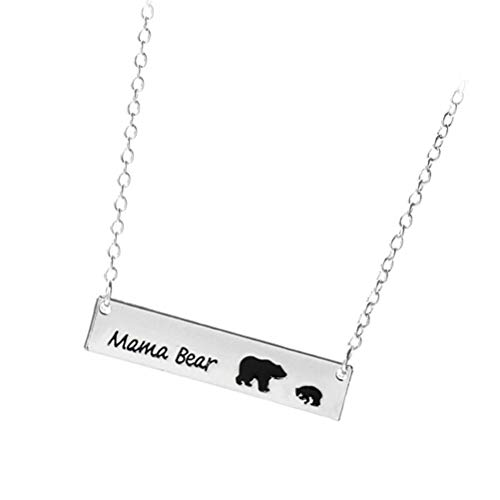 1 Mama Pendant (Mama Bear Necklace Cubs Alloy Bar Pendant Mother's Day Gift Wife Gift Jewelry (A1715-1))