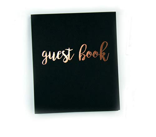 "Modern Photo Guest Book, Softcover Flat-Lay Cardstock, Small 8.5""x7"", 65 Black Sheets (130 pgs) Birthday Guest Book Wedding Guest Book Photo Guest Book Instax Guest Book Quinceanera Rose Gold Black"