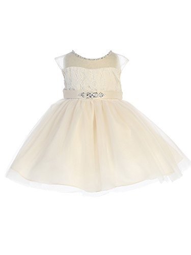 Tip Top Kids Baby Girls Champagne Illusion Neck Beaded Lace Belted Flower Girl Dress 18M Beaded Belted Skirt
