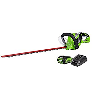 Greenworks 40V 24-inch Cordless Hedge Trimmer, 2Ah Battery and Charger Included