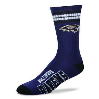 NFL 4 Stripe Deuce Crew Socks Mens-Baltimore Ravens-Size Large(10-13) – DiZiSports Store