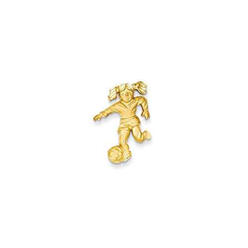 Roy Rose Jewelry 14K Yellow Gold Solid Satin Diamond-cut Open-Backed Girl Soccer Player Charm - Male Soccer Player Charm