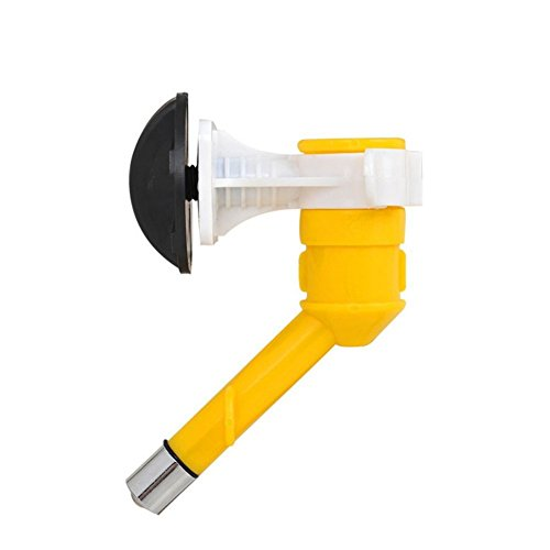 OWIKAR No-Drip Pet Drinking Head Anti-leaking Hanging Pet Drinking Bottle Kit Water Dispenser Feeder Fountain Bottle Head Water Nozzle (Yellow)