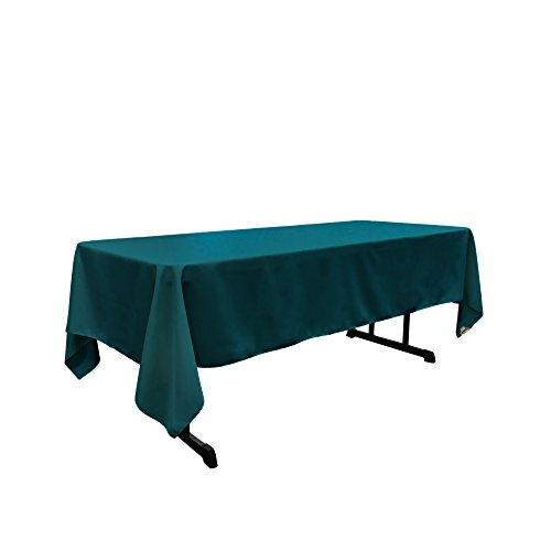 LA Linen Polyester Poplin Rectangular Tablecloth, 60 by 102-Inch, Teal Dark (Teal Table Cloth Linen)