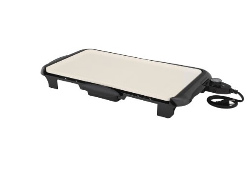 Oster Titanium Infused DuraCeramic Griddle with Warming Tray, Black/Crème (CKSTGRFM18W-TECO) by Oster (Image #17)