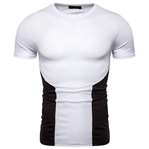 - JJLIKER Mens Short Sleeve T-Shirts Crewneck Athletic Sport Tees Casual Cotton Modern Fit Color Block White