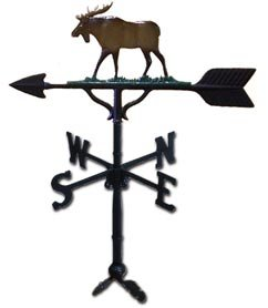 Montague Metal Products 32-Inch Weathervane with Satin Black Moose Ornament
