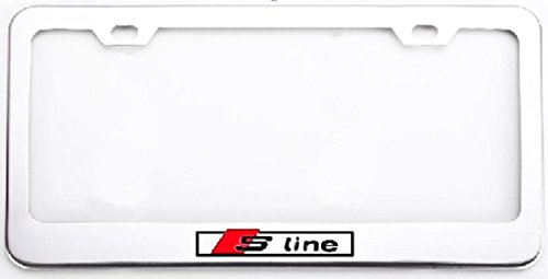 Deselen – LP-BS07P – Stainless Steel S-Line License Plate Frame with Screw Caps Cover Set for Audi S line, Silvery White/Chrome (2 Pieces)
