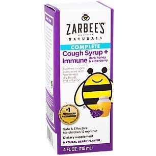 Zarbee's Naturals Children's Cough Syrup & Immune Support Liquid - Natural Berry - 4 Fl Oz (Pack of 4)