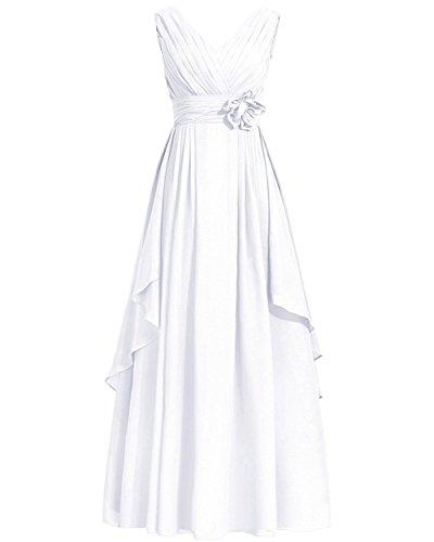 VIPbridal Vestido largo plisado del partido del desfile de la gasa del cuello de V de las mujeres Blanco