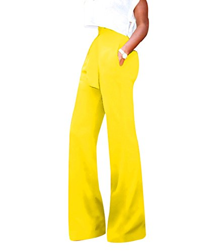 GUOLEZEEV Women Casual Pant Elegant High Waisted Tummy Control Stretchy Pants Trouser XL Yellow