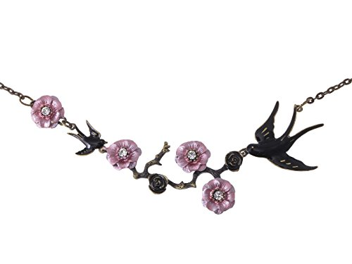 Alilang Antique Golden Hand painted Pink Cherry Blossom Flower Enamel Black Sparrow Birds Necklace