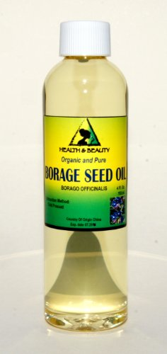 Borage Seed Oil Organic Carrier by H&B Oils Center Virgin GLA-20% Cold Pressed Pure 4 oz