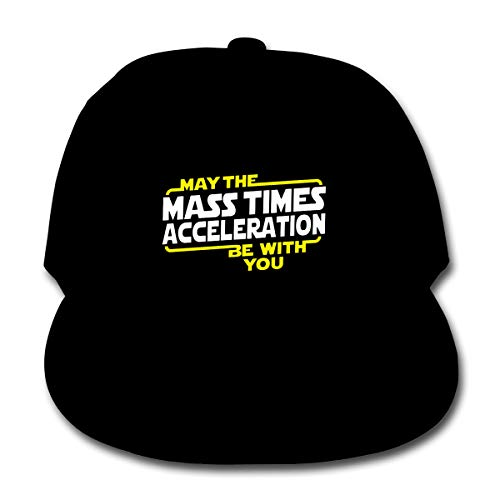 May The Mass X Acceleration Be with You Unisex Kids Plain Cotton Adjustable Low Profile Baseball Cap Hat Black