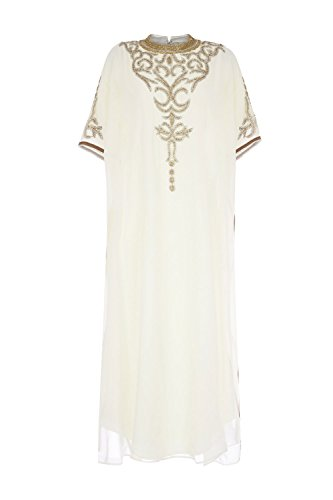 Newdeve Half Sleeves Sccop Robes Muslim Arab Beading Ivory Formal Dresses (26W) by New Deve
