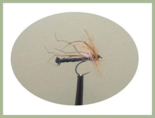 6 St/ück Gr/ö/ße 10 Barbless Daddy Long Legs Fliegen Forellenfliegen schwarz abgetrennt