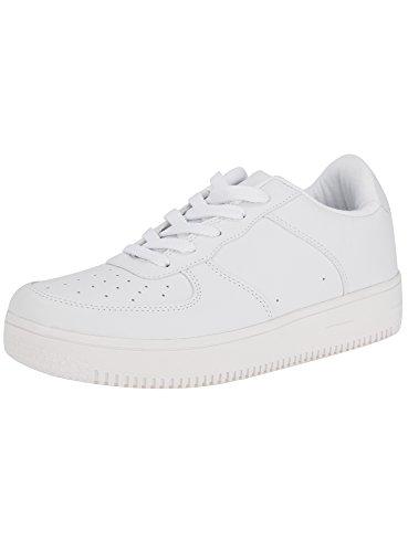 Bianco Suola Pelle Alta Donna Sneakers con Sintetica oodji 1000n in Ultra wx0fR66qz