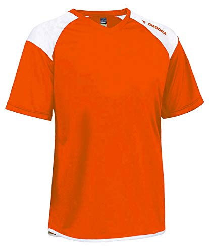 (Diadora Grinta short-sleeve soccer goalkeeper jersey personalized with your name and number - color Orange - size Adult Large)
