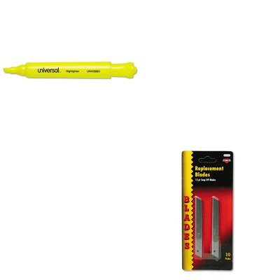 Quickpoint Snap Off Straight Handle (KITCOS091473UNV08861 - Value Kit - Cosco QuickPoint Snap-Off Straight Handle Retractable Knife Replacement Blade (COS091473) and Universal Desk Highlighter (UNV08861))
