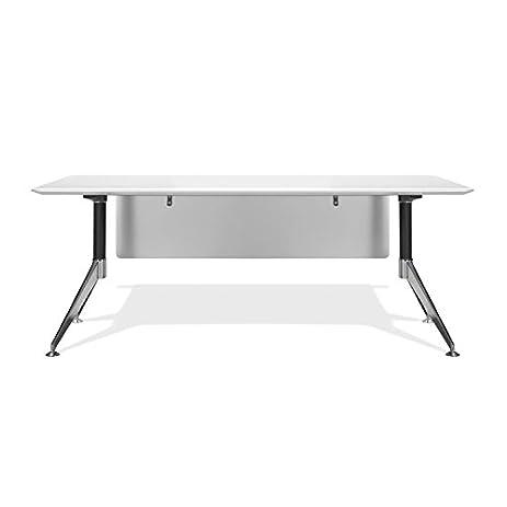 Sleek Modern 71u0026quot; White Lacquer U0026 Chrome Executive Office Desk