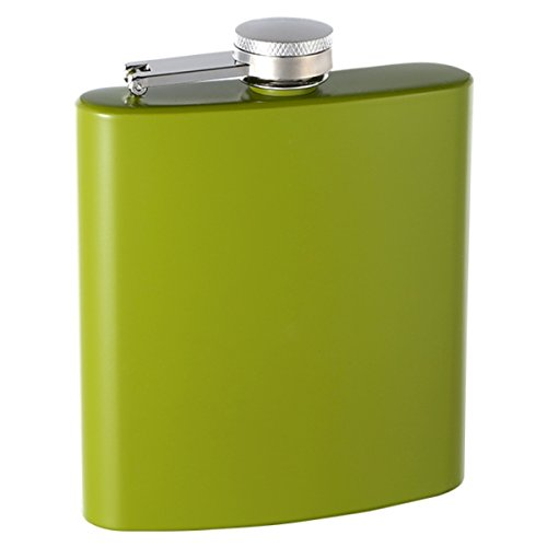 6oz Rubber-Coated No Slip Stainless Steel Hip Flask, Assorted Colors (Lime Green)