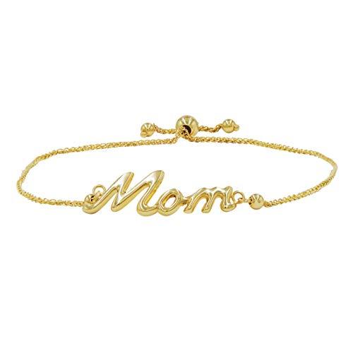 Amanda Rose Mom Bolo Bracelet in 14k Yellow Gold (Adjustable)