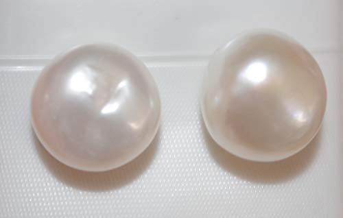 (HAND MADE 14K GORGEOUS 13MM LARGE MABE KESHI BAROQUE ROUND PEARL STUD EARRINGS AAA)