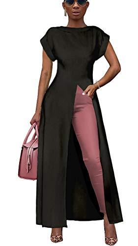 Womens Short Sleeve High Low Front Split Long Shirt Maxi Dress Black XXL