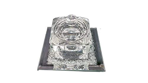 Square Crystal Rosh Hashana Honey Dish With Cover
