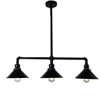 Unitary brand black antique rustic metal shade hanging ceiling pendant light max 120w with 3 lights painted finish