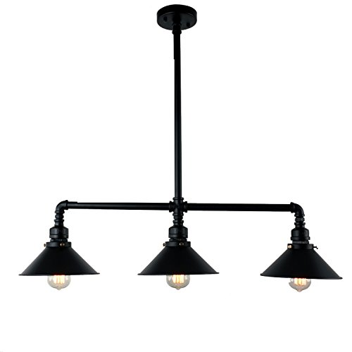 Antique Lighting Hanging - UNITARY BRAND Black Antique Rustic Metal Shade Hanging Ceiling Pendant Light Max. 120W With 3 Lights Painted Finish