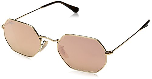 Ray Ban Rose Lens Sunglasses - Ray-Ban RB3556N Octagonal Sunglasses, Shiny Gold/Copper
