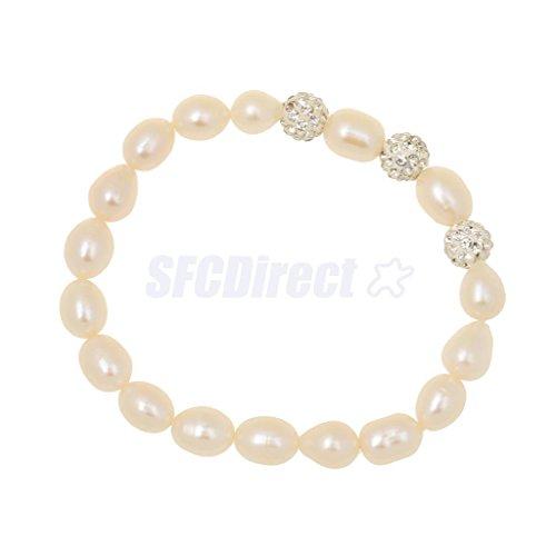 - White Freshwater Pearl Beads Strand Bracelet Wedding Bridal Bangle Cuff Gift