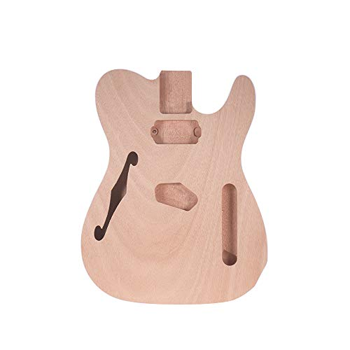 Muslady TL-F Unfinished Electric Guitar Body Blank Guitar Body Barrel DIY Mahogany Wooden Body Guitar Parts Accessories for TELE F Guitar ()