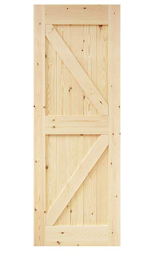 (DIYHD DSX 30X84in Assembled Pine Knotty Sliding Wood Two-Side Arrow Shape Barn Door Slab (Unfinished))