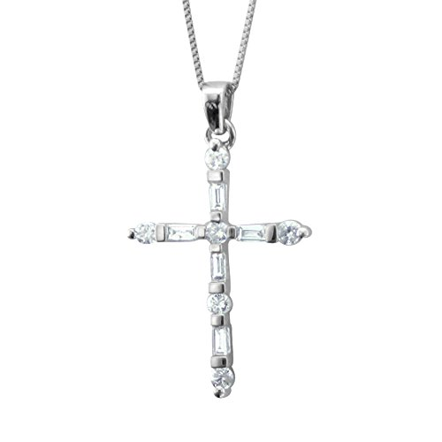 IGI Certified 10k White Gold Baguette & Round Diamond Cross Pendant Necklace (1/4 Carat) (1/4 Ct Diamond Cross Pendant)