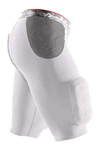 - McDavid Hexpad Girdle With Sewn In Hardshell Thigh Guards, White, X-Large