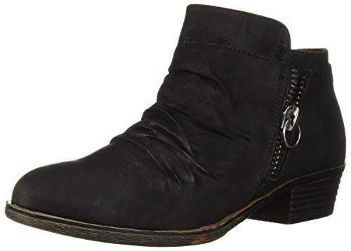 Sugar Casual Boots - Sugar Trust ME Women's Casual Ruched Scrunch Ankle Bootie Boot, Black Distress Fab, 9.5 Medium US