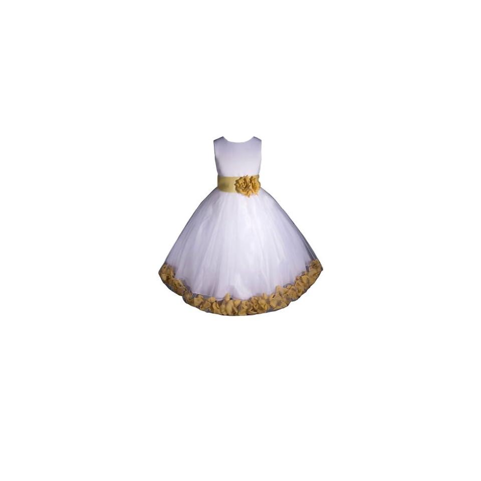 AMJ Dresses Inc Girls White/gold Flower Girl Easter Dress From Baby to 12 Clothing