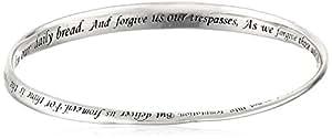 """Sterling Silver """"Lord's Prayer"""" Bangle Bracelet, 8.75"""""""