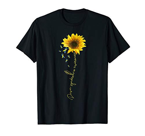 Down Awareness Ribbon Syndrome - down syndrome sunflower t shirt gift yellow blue ribbon